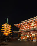 Historic Japanese temple at night, Sensoji, Asakusa, Tokyo Stock Image