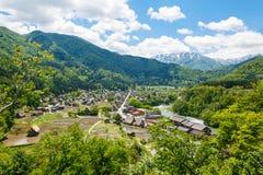 Historic Japanese village Shirakawa-go in summer Royalty Free Stock Photo