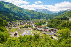 Historic Japanese village Shirakawa-go in summer Royalty Free Stock Photography