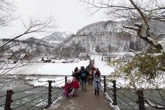 Historic Japanese village Shirakawa-go at winter stock images