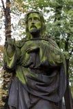 Historic Jesus on the mystery old Prague Cemetery, Czech Republic Stock Photography