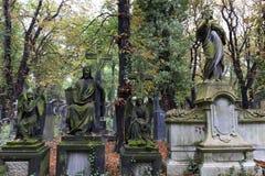 Historic Jesus on the mystery old Prague Cemetery, Czech Republic Stock Photo