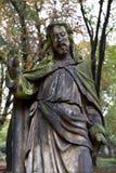 Historic Jesus on the mystery old Prague Cemetery, Czech Republic Stock Image
