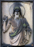 Historic Jesus on the mystery old Prague Cemetery, Czech Republic Royalty Free Stock Image