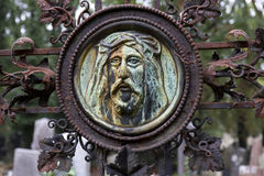 Historic Jesus on the mystery old Prague Cemetery, Czech Republic Royalty Free Stock Photos
