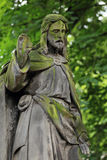 Historic Jesus from the old mystery Prague Cemetery, Czech Republic Royalty Free Stock Photo