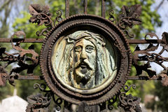 Historic Jesus from the old mystery Prague Cemetery, Czech Republic Stock Photo