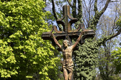 Historic Jesus from the old mystery Prague Cemetery, Czech Republic Stock Photography