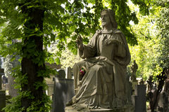 Historic Jesus from the old mystery Prague Cemetery, Czech Republic Stock Photos
