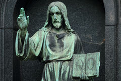 Historic Jesus on the old Prague Cemetery, Czech Republic Stock Photography