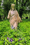 Historic Jesus on the old Prague Cemetery, Czech Republic Stock Image