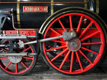 Historic John Molson Train Engine. Detail of the John Molson steam engine. Built in 1970, the John Molson is a replica of a late 1840's locomotive. The original Stock Photos