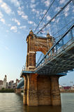 Historic John A. Roebling suspension bridge. Royalty Free Stock Photo