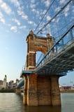 Historic John A. Roebling suspension bridge. royalty free stock photo