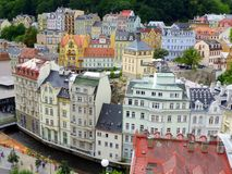 Historic Karlovy Vary, Czech Republic. Colorful historic buildings in Karlovy Vary, or Carlsbad, a spa town in Western Bohemia, Czech Republic royalty free stock image