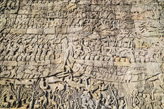 Historic Khmer bas-relief showing Hindu legend scenes at Bayon t Stock Photo