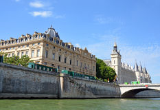 Historic La Conciergerie Buildings & Towers on the Banks of The Stock Images