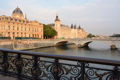 Historic La Conciergerie Buildings & Towers on the Banks of The Sei Royalty Free Stock Photos