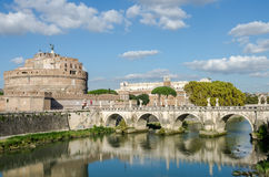 Historic Landmark architecture Eliyev build a bridge to the Castel Sant'Angelo in Rome, on the banks of the Tiber River near the a Stock Photos