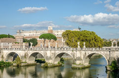 Historic Landmark architecture Eliyev build a bridge to the Castel Sant'Angelo in Rome, on the banks of the Tiber River near the a Royalty Free Stock Images
