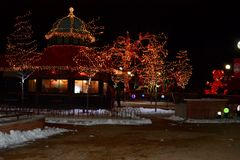 Historic Landmark Cafe Lighted For The Holidays Stock Photo
