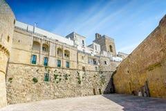 Historic landmarks in Otranto, Apulia, Italy. Medieval castle and Alfonsina Gate in Otranto, Apulia, Italy Stock Images