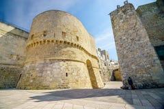Historic landmarks in Otranto, Apulia, Italy. Medieval castle and Alfonsina Gate in Otranto, Apulia, Italy Stock Photography