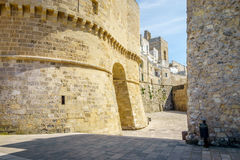 Historic landmarks in Otranto, Apulia, Italy. Medieval castle and Alfonsina Gate in Otranto, Apulia, Italy Stock Image