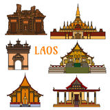 Historic landmarks and sightseeings of Laos Royalty Free Stock Image