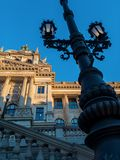 Historic lantern in front of historical building of national museum in Prague stock image