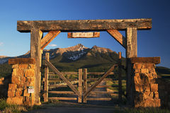 Historic Last Dollar Ranch gate, Hastings Mesa, Route 58p, near Ridgway, Colorado, USA royalty free stock photography