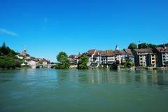 Historic Laufenburg on Switzerland - Germany border. Border Town Laufenburg in Switzerland with historic houses on the banks of river Rhine near Germany Stock Photo
