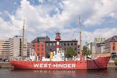 Historic light ship in the harbor of Antwerp, Belgium Royalty Free Stock Photos