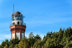 Historic lighthouse on the Baltic Sea in Niechorze, Poland, Europe. Lighthouse was built in 1866. Royalty Free Stock Photography