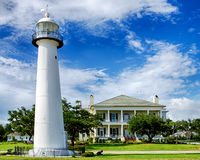 Historic lighthouse landmark in Biloxi, Mississippi Royalty Free Stock Images