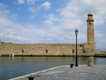 Historic Lighthouse of the Old Venetian Harbor at Rethymno, Crete Island stock photo