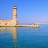 Historic lighthouse and sea Royalty Free Stock Photo