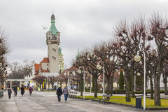 Historic lighthouse in Sopot, Poland. Promenade along the beach and historic lighthouse in Sopot Stock Images