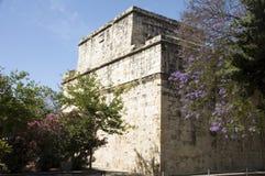 Historic limassol castle lemesos cyprus. Historic Limassol Lemessos Castle with flowering shrub plant Cyprus Mediterranean royalty free stock photos