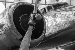 Lockheed Model 10E Electra Airplane. Seattle Museum of Flight display of the Lockheed Model 10-E Electra. The silver metal sheeting makes a dazzling reflective Royalty Free Stock Image