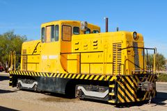 Historic locomotive along railroad tracks in Barstow, CA. Stock Image