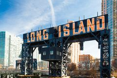 Long Island Sign Queens NYC. Historic Long Island sign seen from Gantry State Park in Long Island City, Queens New York royalty free stock photo