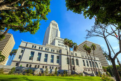 Historic Los Angeles City Hall with blue sky Royalty Free Stock Image
