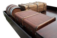 Historic luggage on a cargo bed stock photography