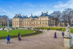 Historic Luxembourg Palace and Garden in winter.Paris.France. Historic Luxembourg Palace and Garden in winter. Paris. France stock photos