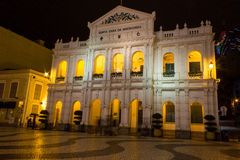 Historic Macau at night. Photo of one of the historic buildings in Macau. Macau is a special administrative region of the People's Republic of China. Macau was a stock photo
