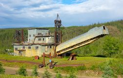 An ancient dredge on display at a gold-mining operation in alaska Royalty Free Stock Photo