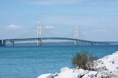 Historic Mackinac Bridge in Michigan. The historic Mackinac Bridge in upper Michigan Royalty Free Stock Photography