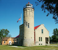 Historic Mackinaw Lighthouse. Mackinaw Lighthouse Michigan Stock Photo