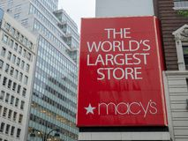 Historic Macy's flagship retail store in Herald Square location of New York royalty free stock images